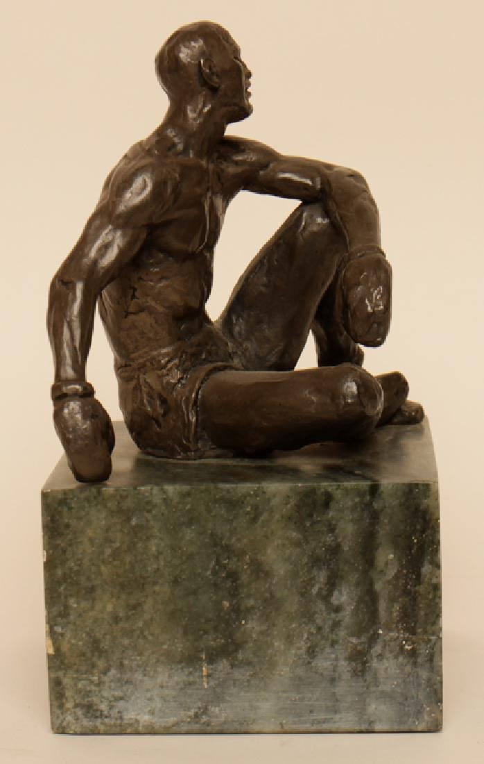"JOSPEH BROWN ""SEATED BOXER"" BRONZE STATUE - 2"