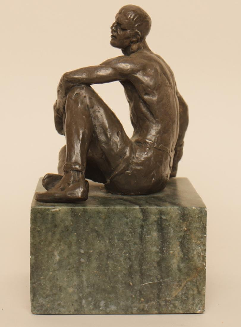 "JOSPEH BROWN ""SEATED BOXER"" BRONZE STATUE - 3"
