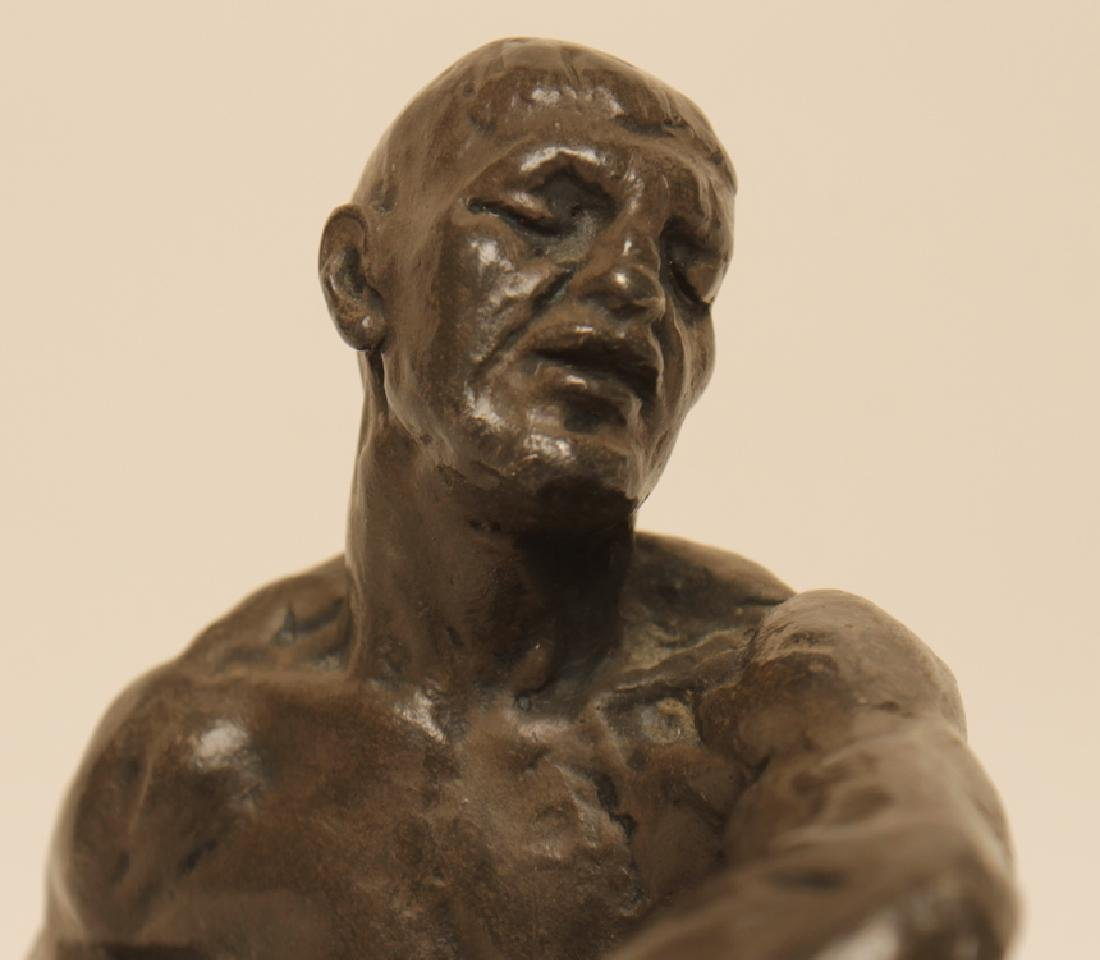 "JOSPEH BROWN ""SEATED BOXER"" BRONZE STATUE - 4"