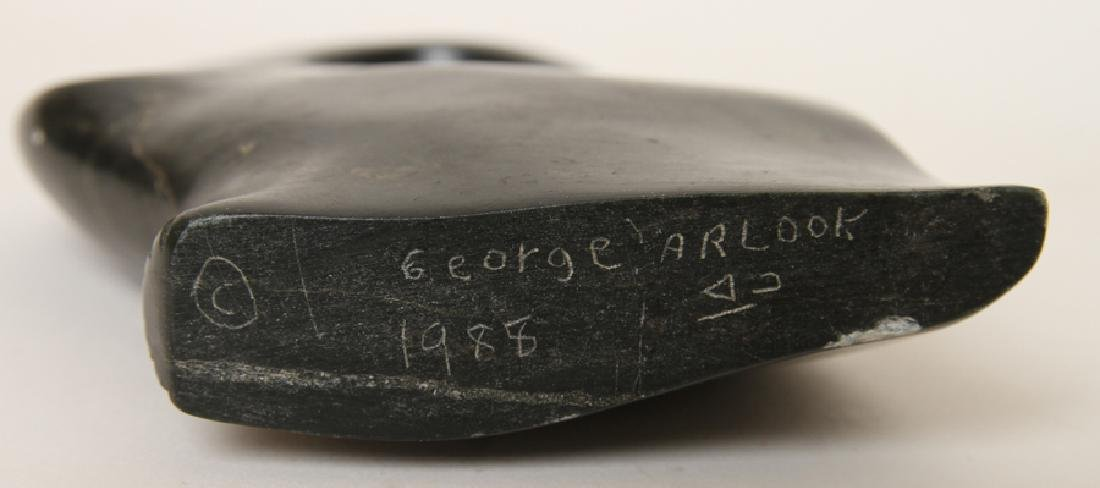 GEORGE ARLUK (ARLOOK) CARVED SOAPSTONE SCULPTURE - 5