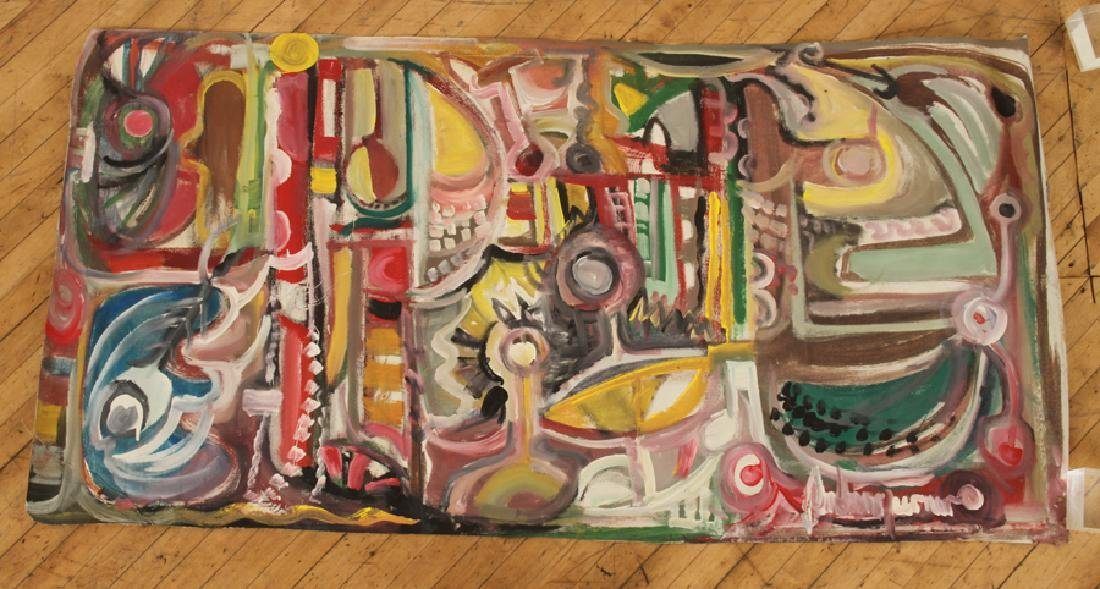 """ANDREW TURNER """"ABSTRACT"""" ACRYLIC ON WALLPAPER"""