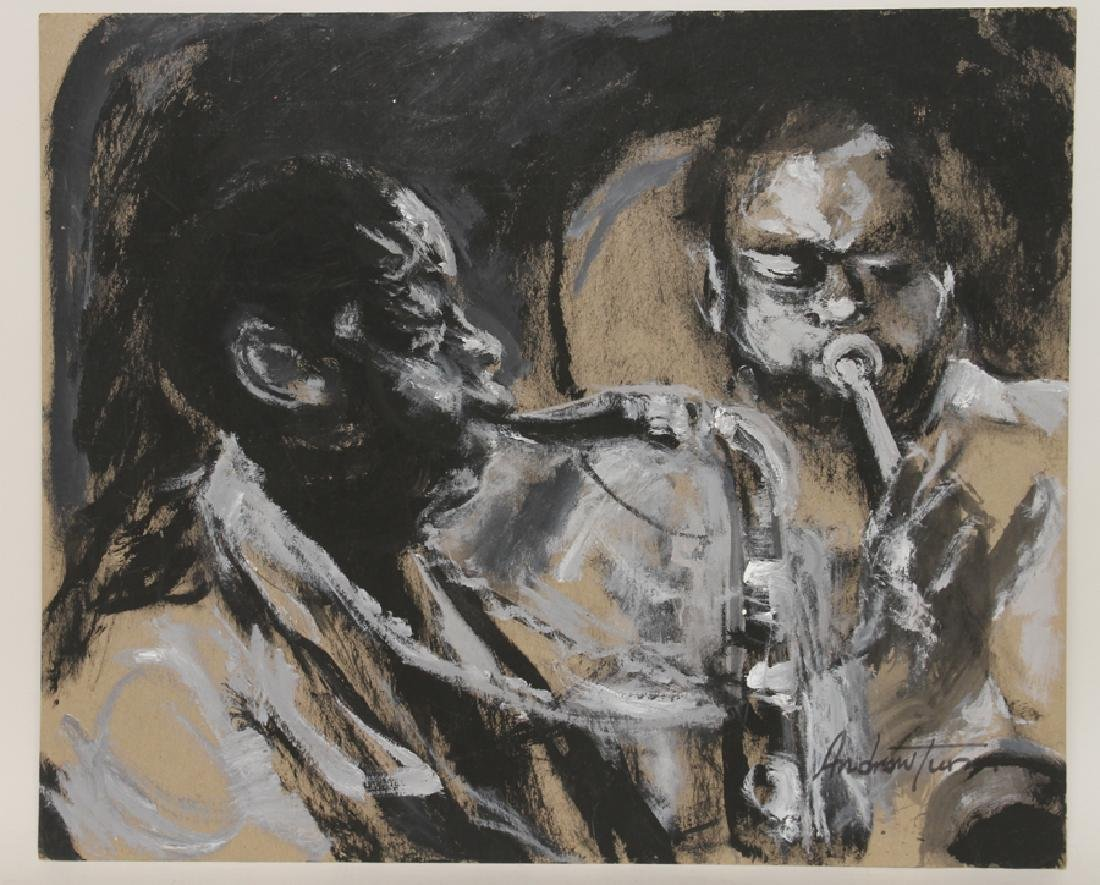"ANDREW TURNER ""SAX AND TRUMPET"" MIXED MEDIA"