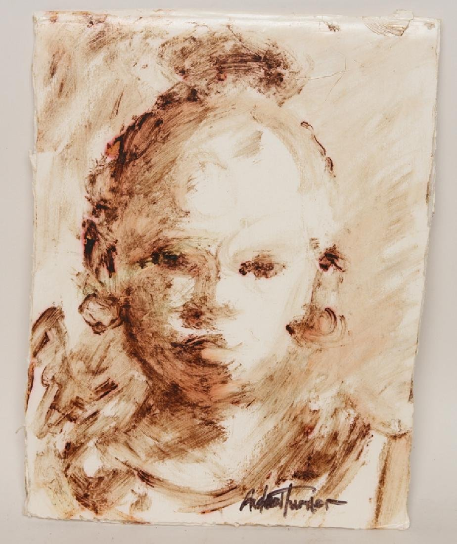 """ANDREW TURNER """"STUDY OF A YOUNG GIRL"""" MIXED MEDIA"""