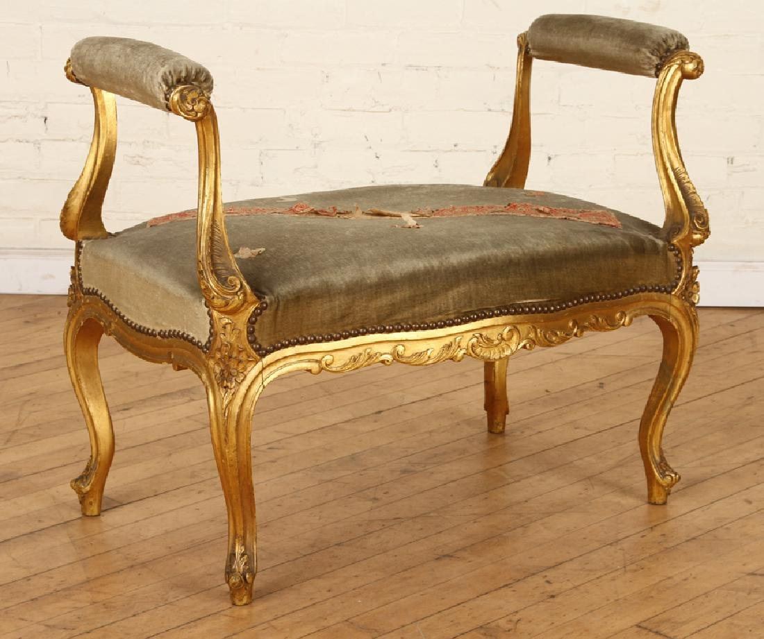 FRENCH LOUIS XV STYLE GILT WOOD UPHOLSTERED BENCH