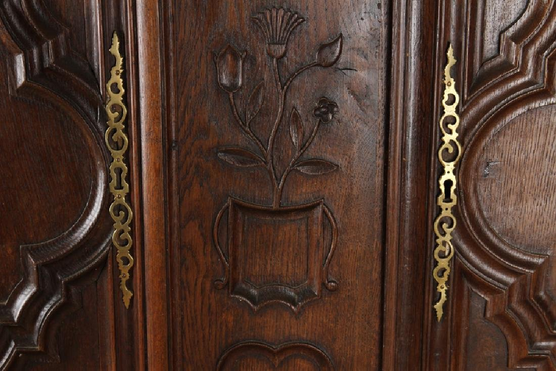 TWO DOOR 19TH CENTURY FRENCH OAK ARMOIRE - 4