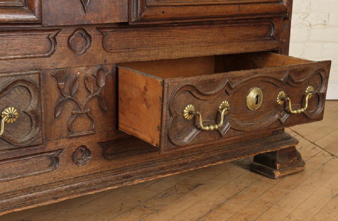 TWO DOOR 19TH CENTURY FRENCH OAK ARMOIRE - 6
