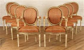 SET 8 FRENCH PAINTED CARVED DINING CHAIRS