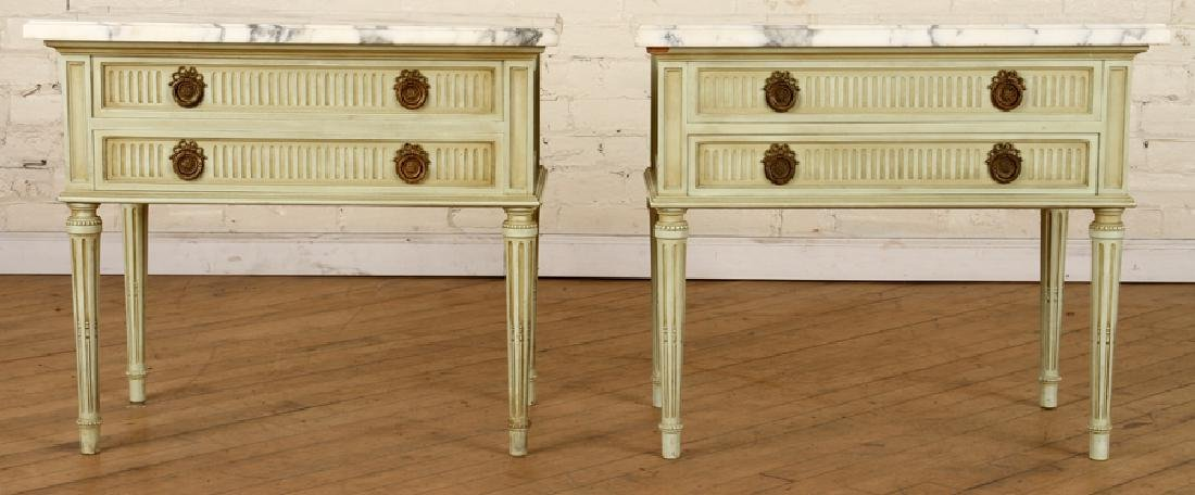 PAIR FRENCH MARBLE TOP NIGHT STANDS C.1940