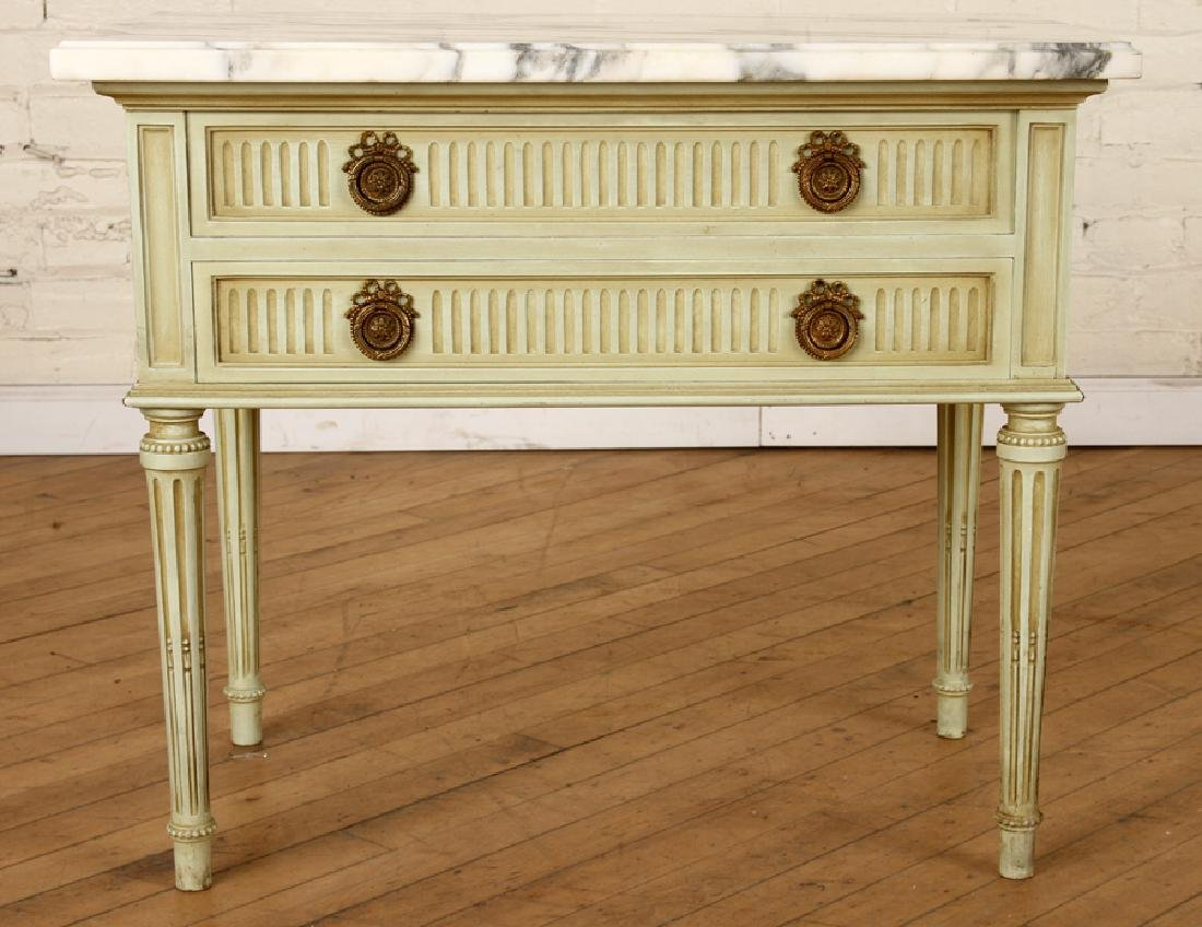 PAIR FRENCH MARBLE TOP NIGHT STANDS C.1940 - 2