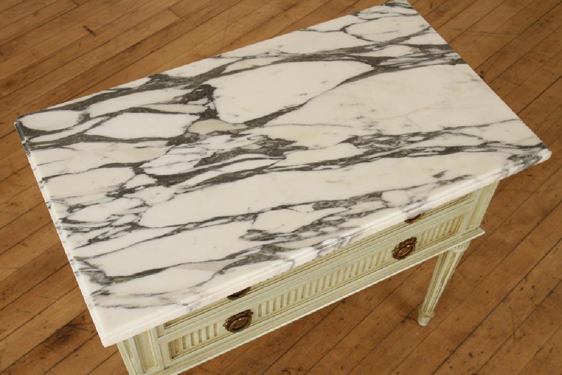 PAIR FRENCH MARBLE TOP NIGHT STANDS C.1940 - 4