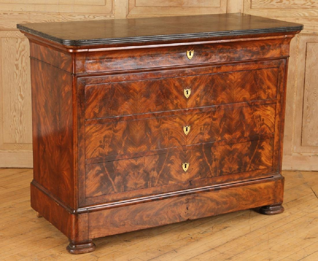 FRENCH LOUIS PHILIPPE CROTCH MAHOGANY COMMODE - 2