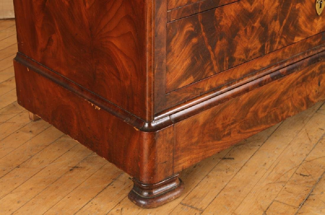 FRENCH LOUIS PHILIPPE CROTCH MAHOGANY COMMODE - 5