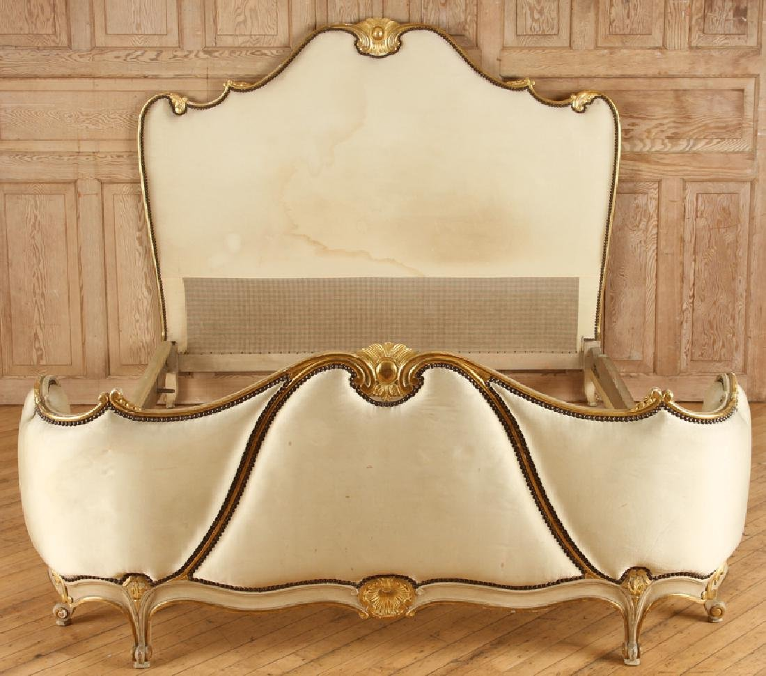 FRENCH LOUIS XV STYLE CARVED GILT QUEEN SIZE BED