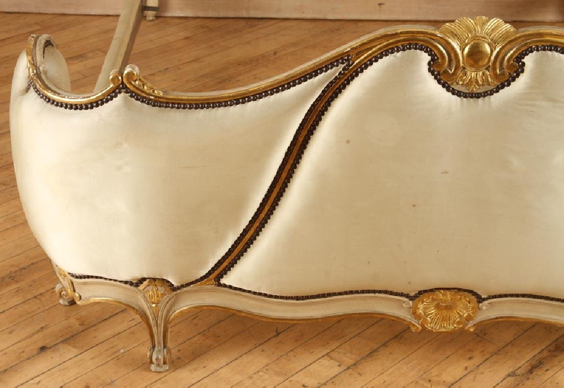 FRENCH LOUIS XV STYLE CARVED GILT QUEEN SIZE BED - 5