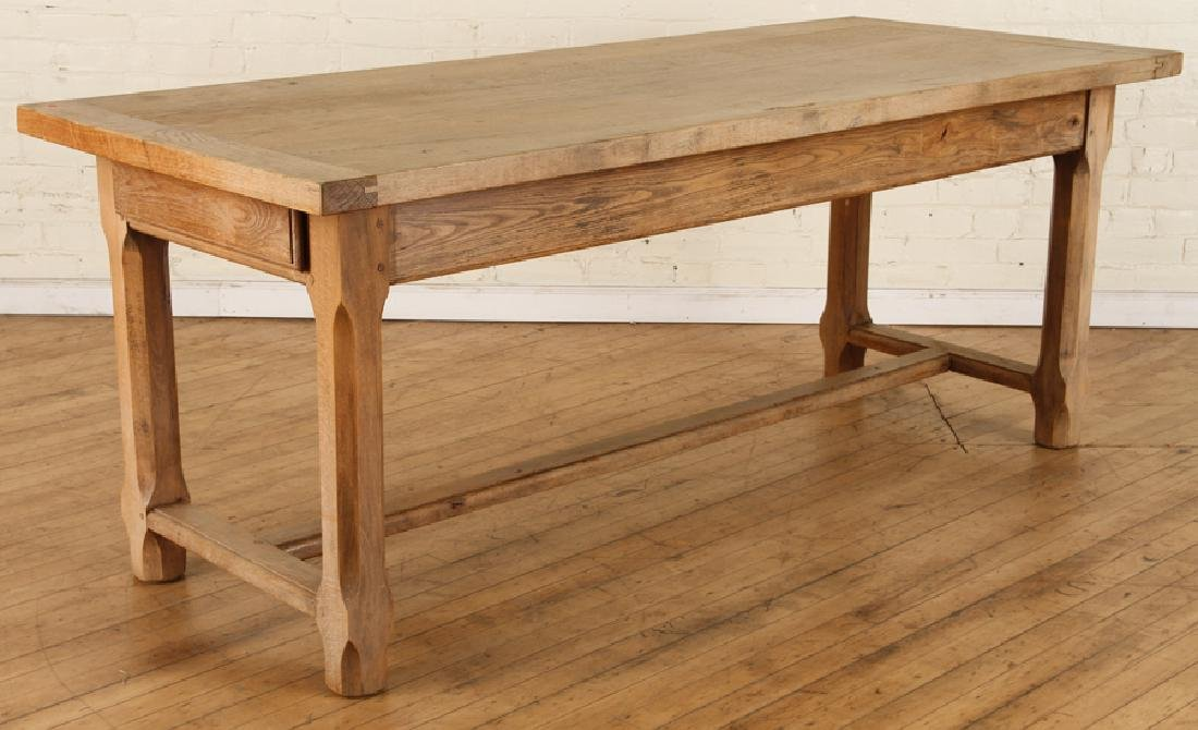 FRENCH OAK PLANK TOP TABLE CIRCA 1930