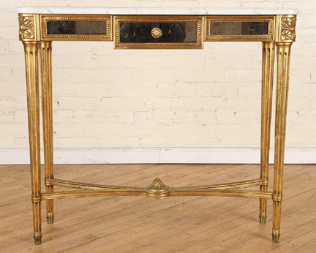 FRENCH GILT WOOD MIRRORED MARBLE TOP CONSOLE 1950