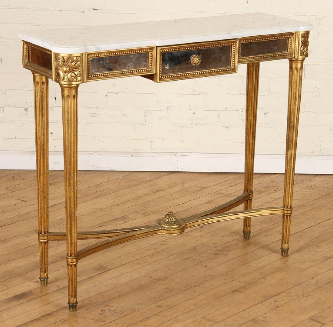 FRENCH GILT WOOD MIRRORED MARBLE TOP CONSOLE 1950 - 2