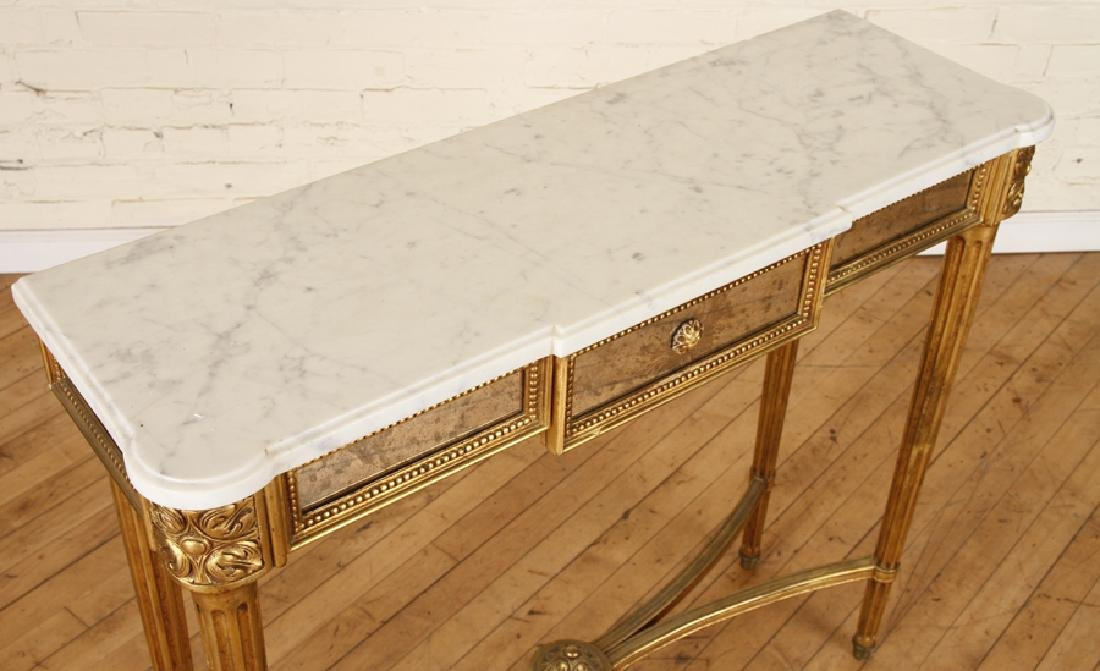 FRENCH GILT WOOD MIRRORED MARBLE TOP CONSOLE 1950 - 3