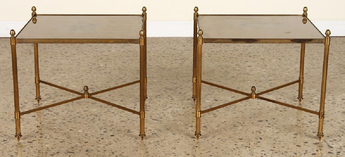 PAIR BRASS X-FORM SIDE TABLES GLASS TOPS