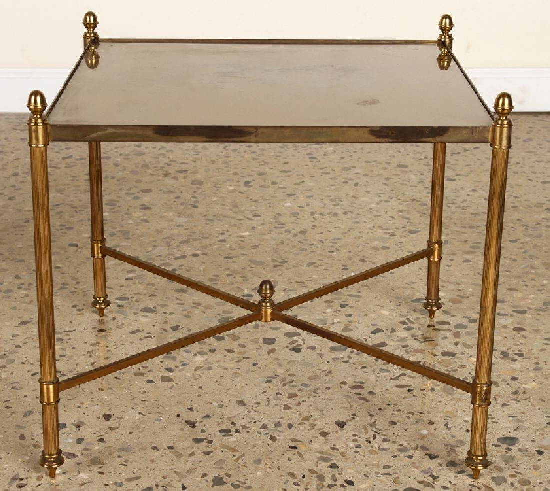 PAIR BRASS X-FORM SIDE TABLES GLASS TOPS - 2