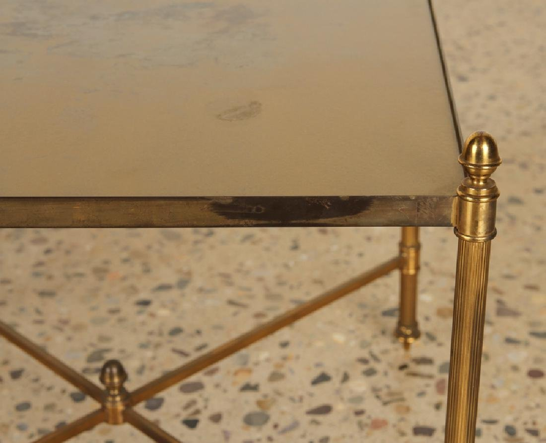 PAIR BRASS X-FORM SIDE TABLES GLASS TOPS - 4