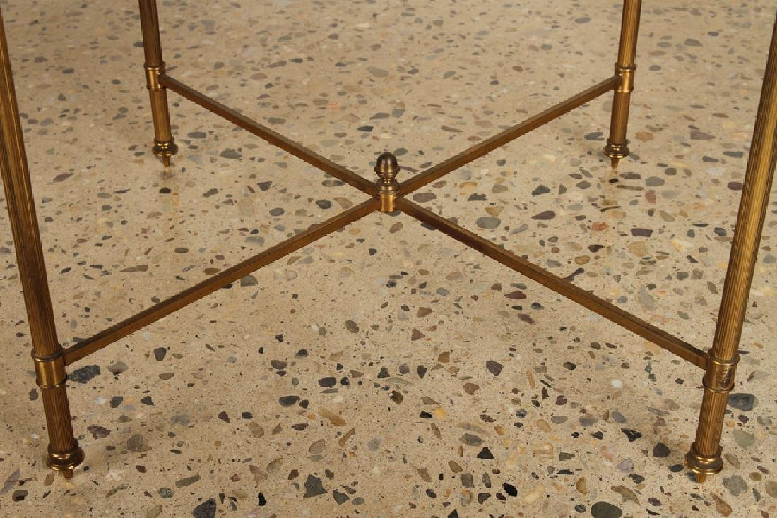 PAIR BRASS X-FORM SIDE TABLES GLASS TOPS - 5
