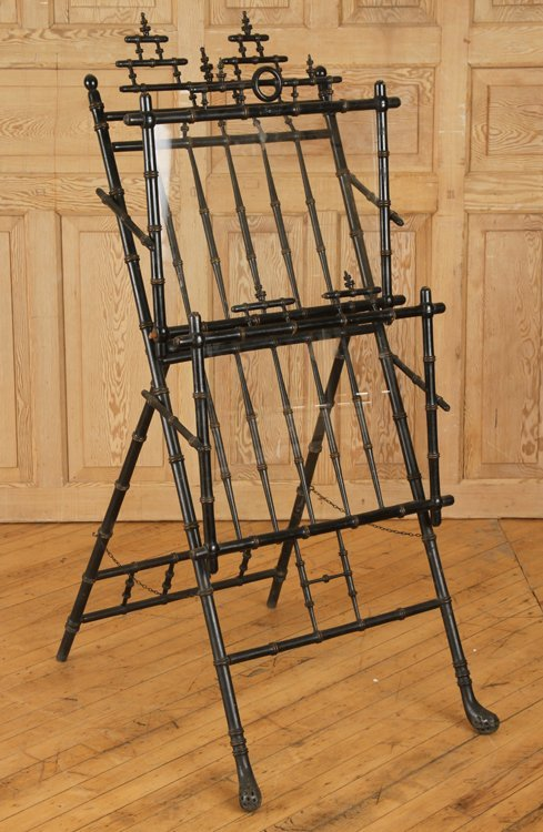AESTHETIC MOVEMENT EBONIZED BAMBOO EASEL C. 1880