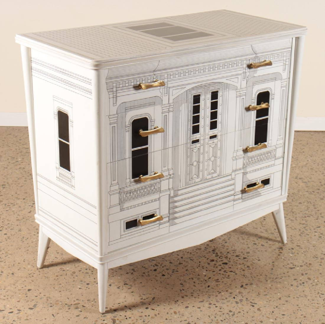 FORNASETTI STYLE PAINTED COMMODE CIRCA 1960 - 2