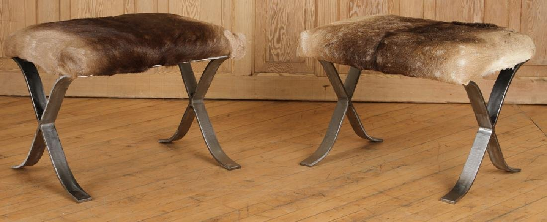 PAIR IRON X-FORM BENCHES UPHOLSTERED ANIMAL HIDE