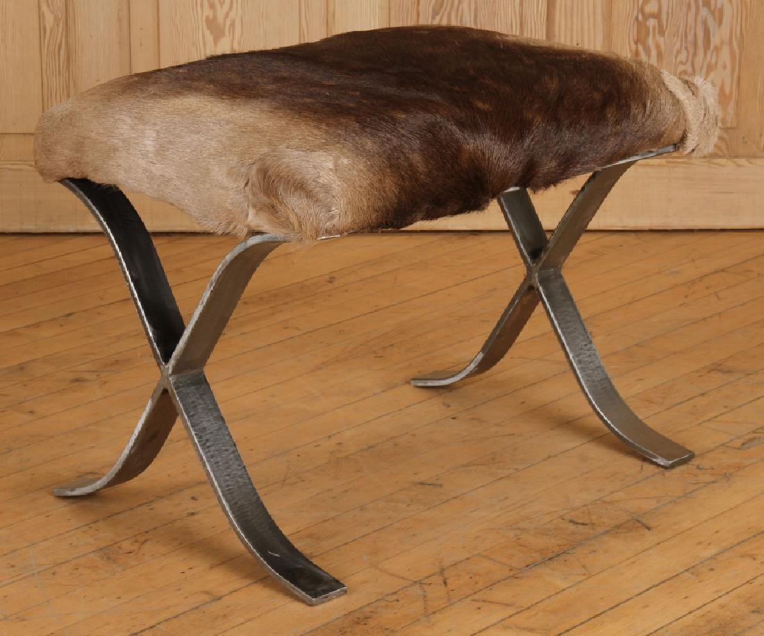 PAIR IRON X-FORM BENCHES UPHOLSTERED ANIMAL HIDE - 2