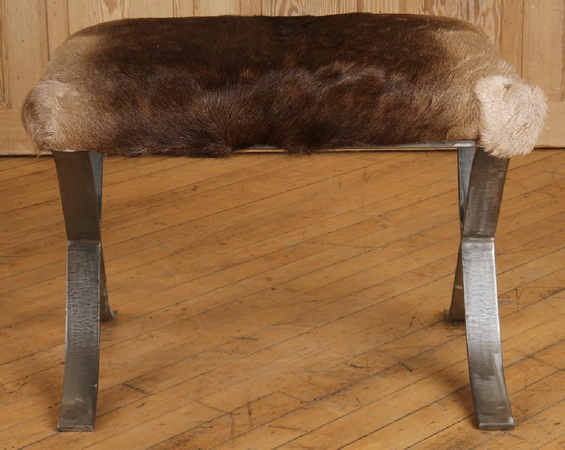 PAIR IRON X-FORM BENCHES UPHOLSTERED ANIMAL HIDE - 3