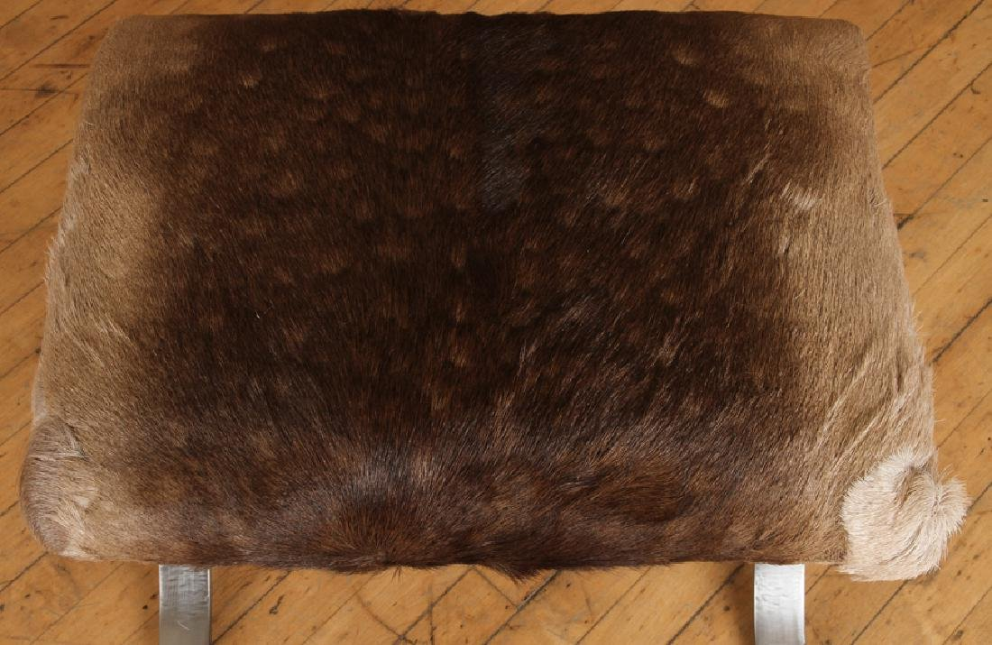 PAIR IRON X-FORM BENCHES UPHOLSTERED ANIMAL HIDE - 4