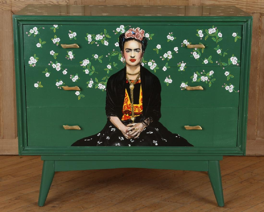 MID CENTURY MODERN DRESSER DEPICTING FRIDA KAHLO