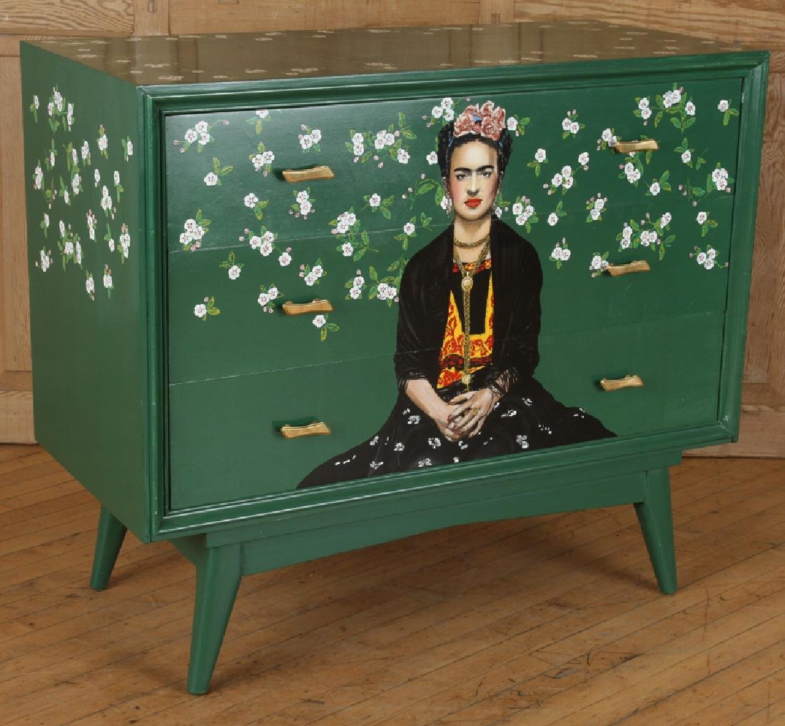 MID CENTURY MODERN DRESSER DEPICTING FRIDA KAHLO - 2