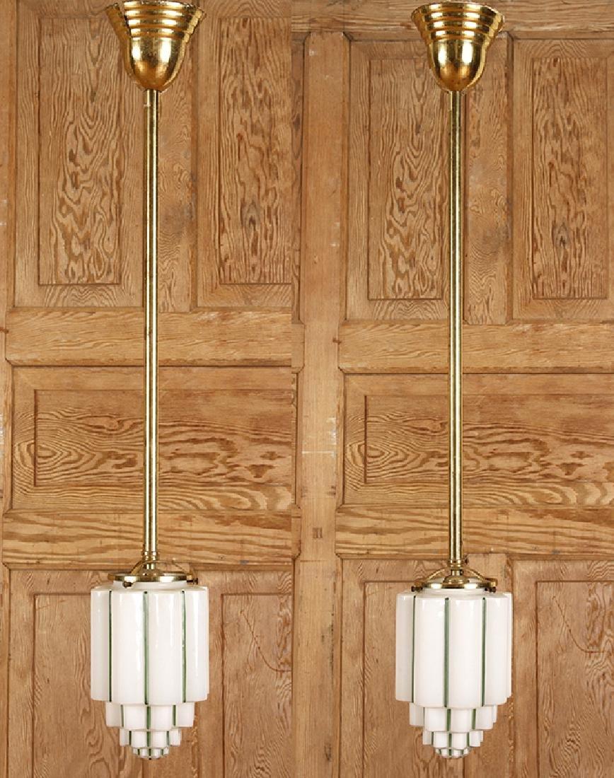 PAIR BRASS HANGING LIGHT FIXTURES GLASS SHADES