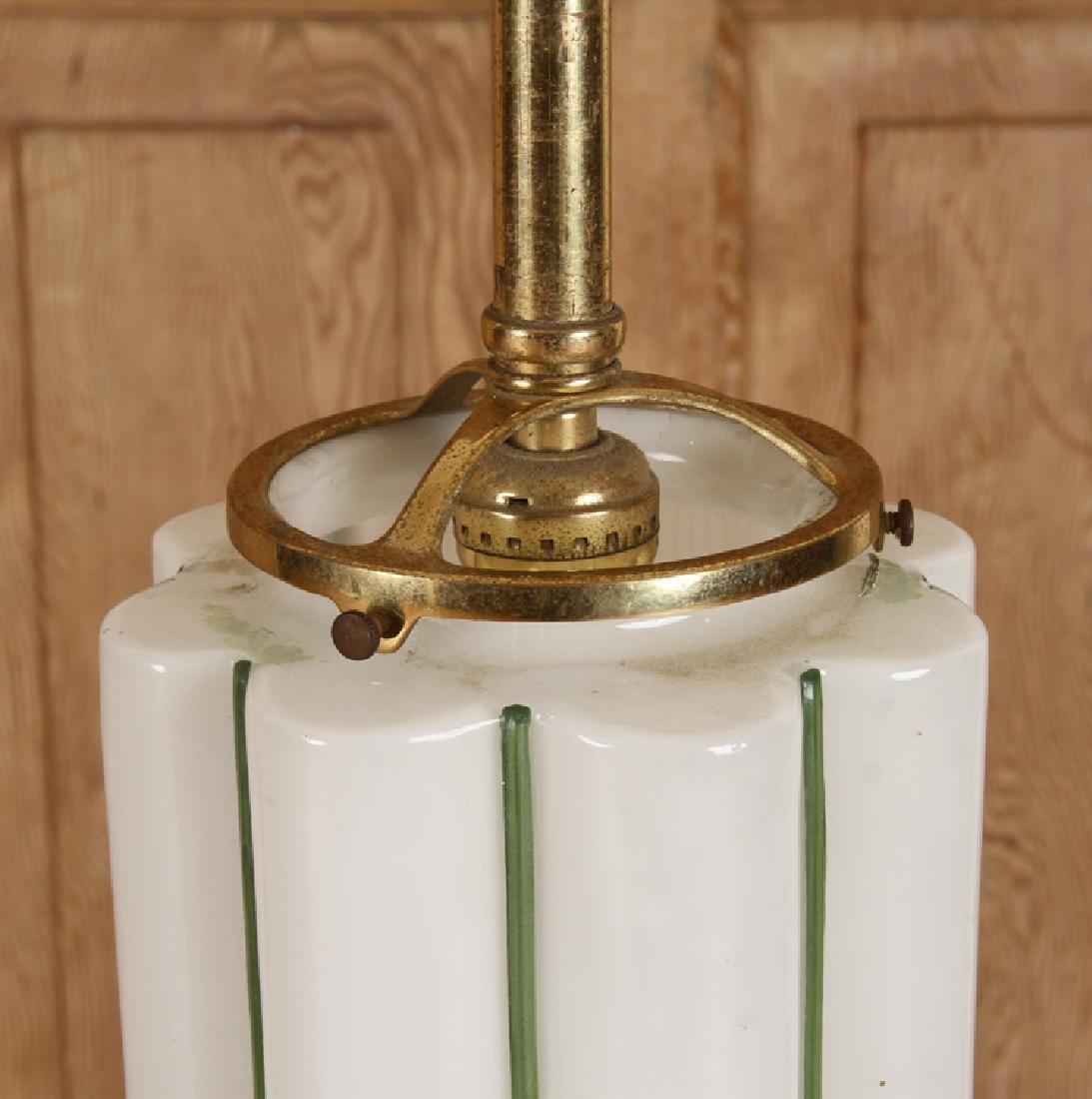 PAIR BRASS HANGING LIGHT FIXTURES GLASS SHADES - 5