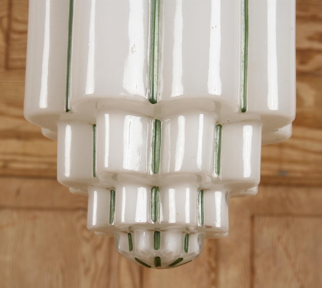 PAIR BRASS HANGING LIGHT FIXTURES GLASS SHADES - 6