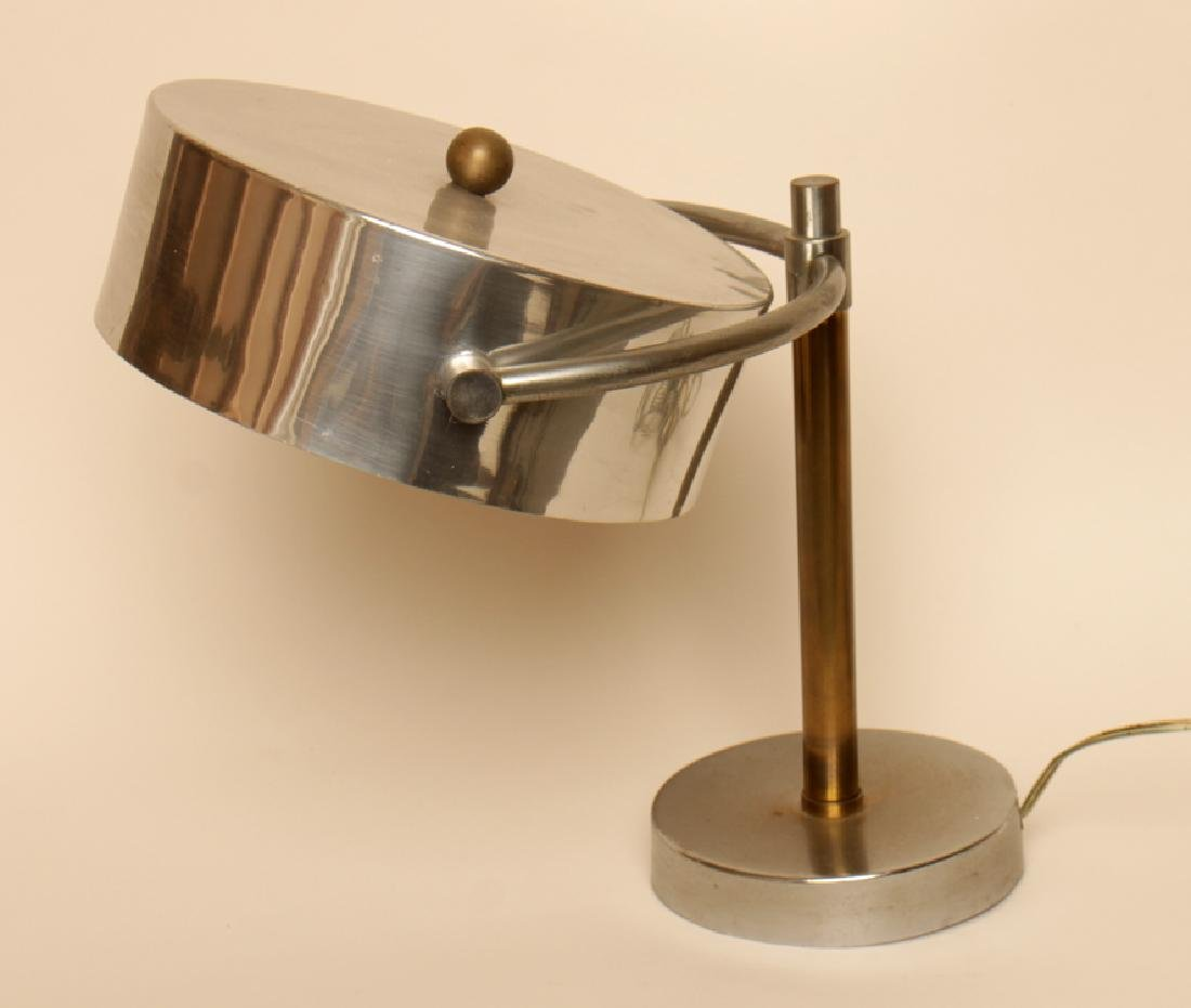 BRASS CHROME ADJUSTABLE TABLE LAMP KURT VERSON