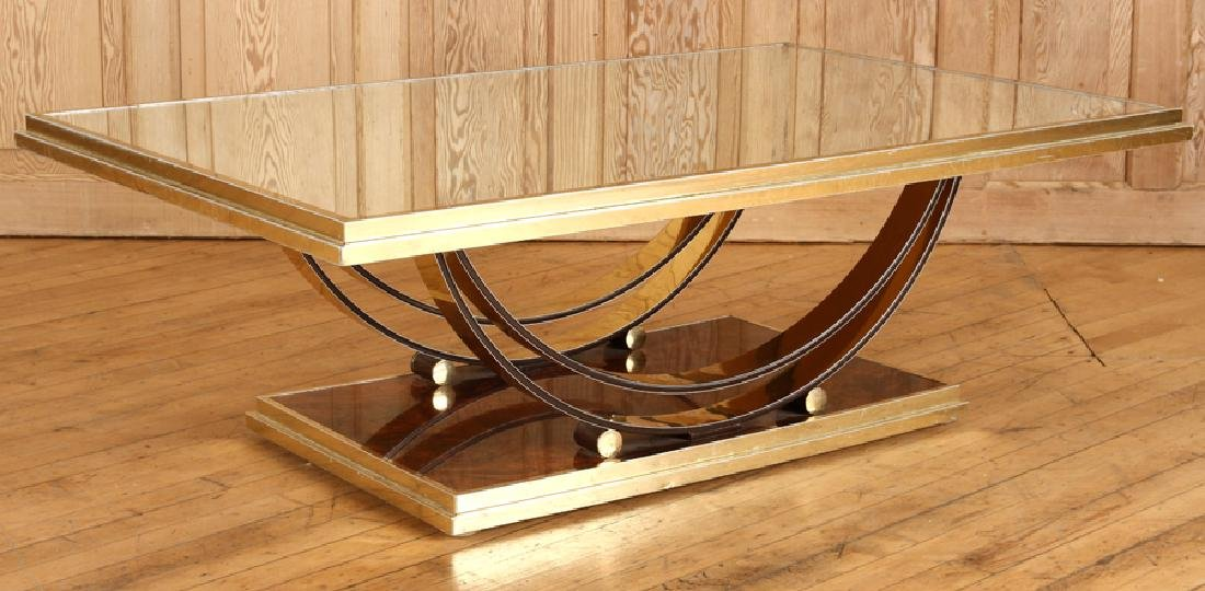 BRASS AND MIRRORED FRENCH COFFEE TABLE - 2