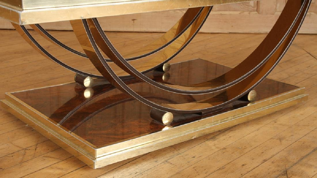 BRASS AND MIRRORED FRENCH COFFEE TABLE - 4