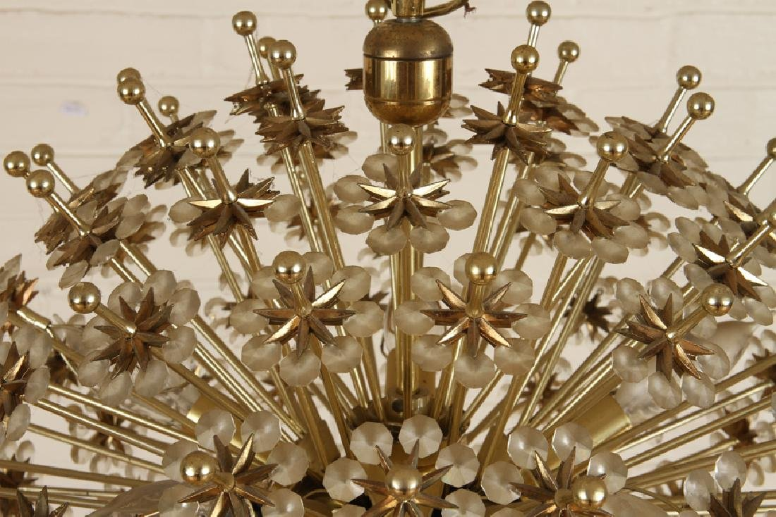 BRASS AND CRYSTAL SPUTNIK CHANDELIER - 2