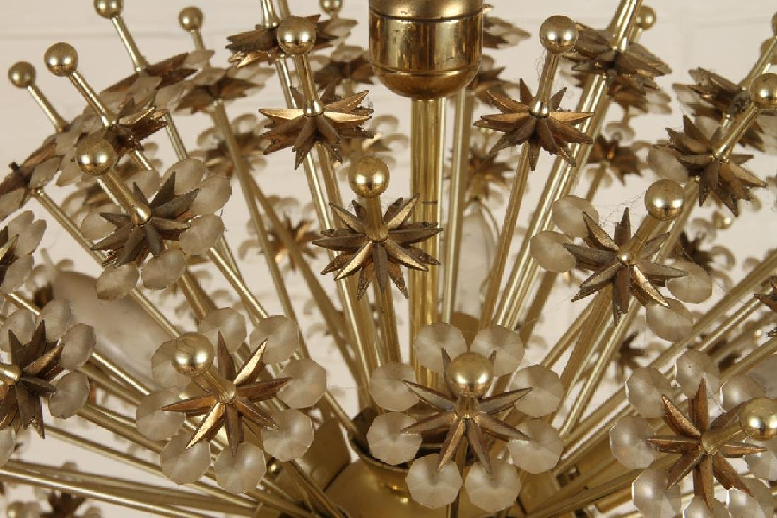 BRASS AND CRYSTAL SPUTNIK CHANDELIER - 4
