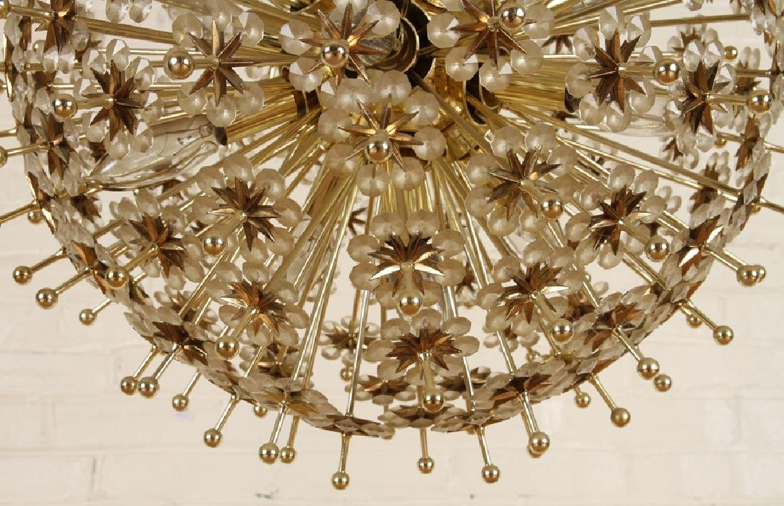 BRASS AND CRYSTAL SPUTNIK CHANDELIER - 5