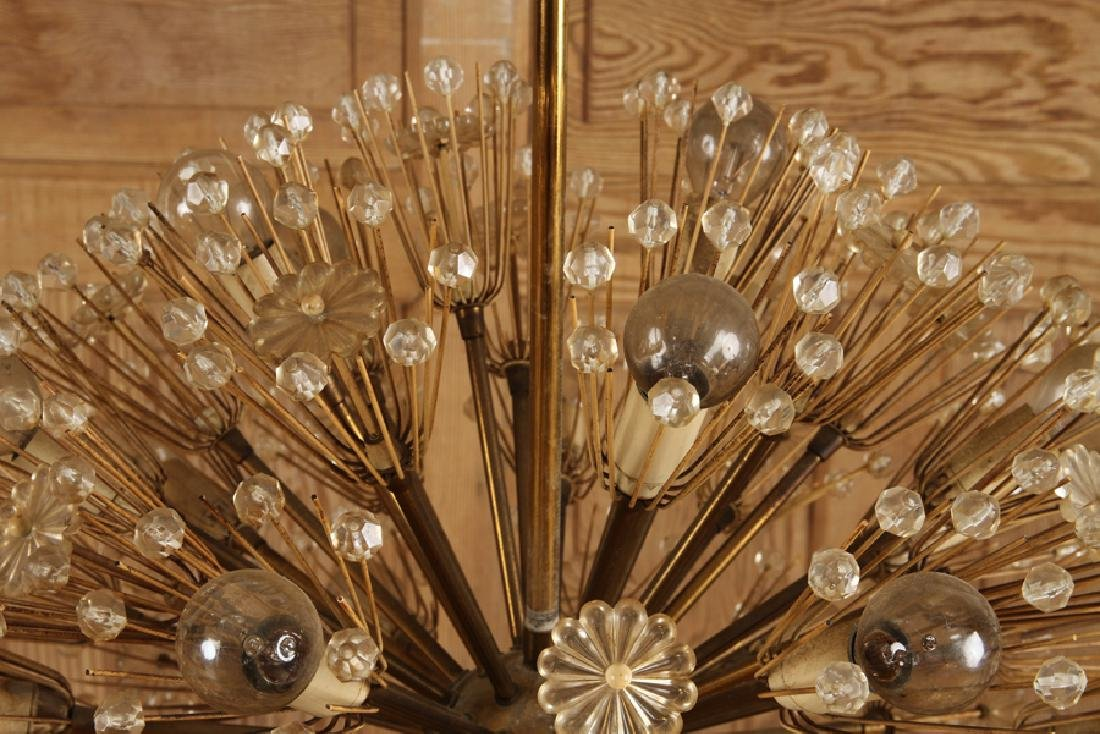 SPUTNIK BRASS GLASS CHANDELIER BY EMIL STEJNAR - 2