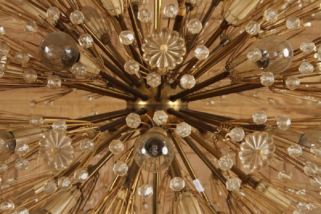 SPUTNIK BRASS GLASS CHANDELIER BY EMIL STEJNAR - 3