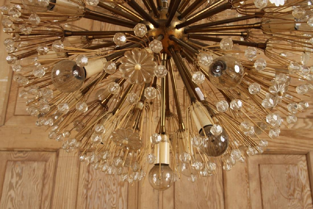 SPUTNIK BRASS GLASS CHANDELIER BY EMIL STEJNAR - 4