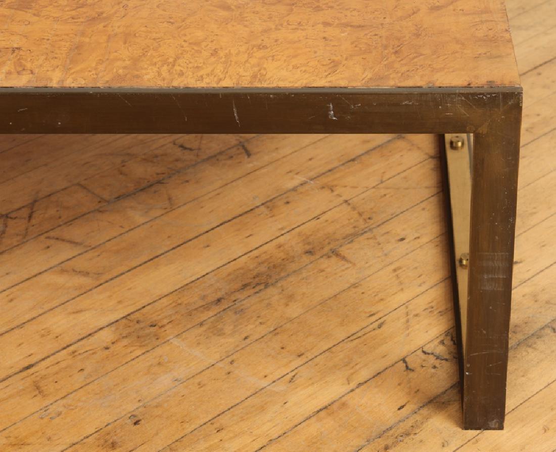 BURL WALNUT BRONZE COFFEE TABLE BY TONI CORDERO - 3