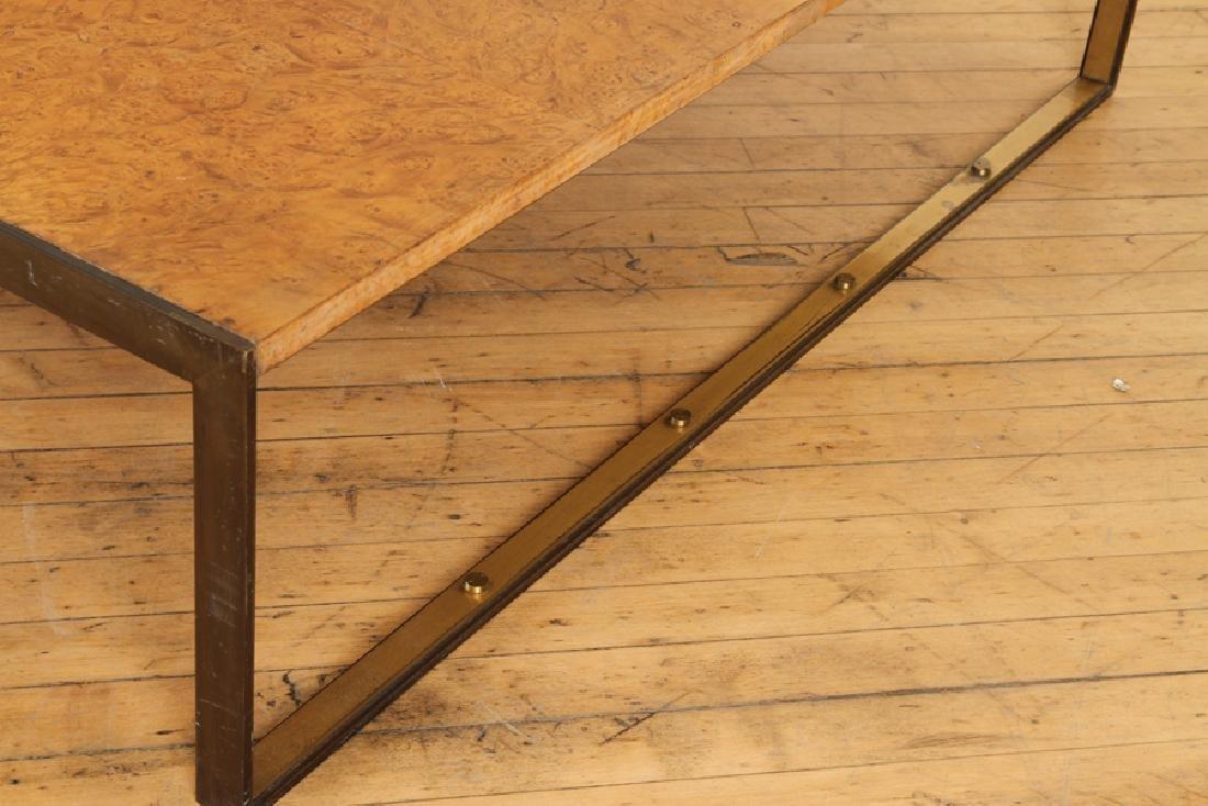 BURL WALNUT BRONZE COFFEE TABLE BY TONI CORDERO - 4