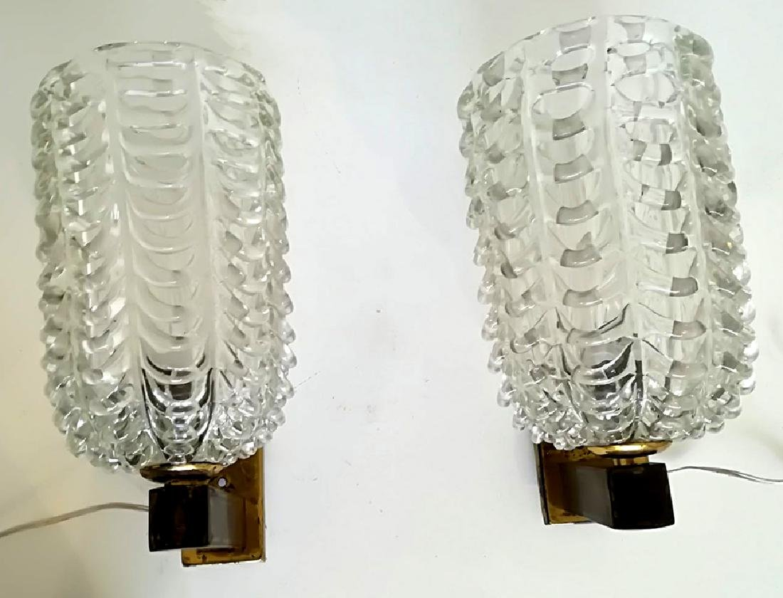 ARCHIMEDE SEGUSO BRASS AND GLASS SCONCES 1960