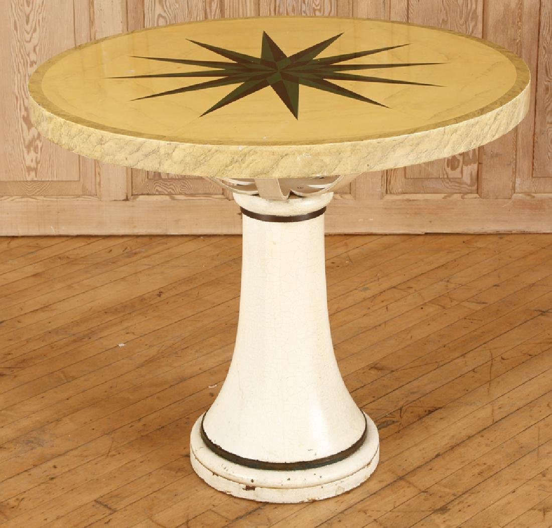 INTERESTING ROUND PAINTED WOOD CENTER TABLE